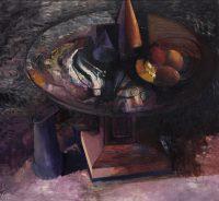 Sławomir Karpowicz: Martwa natura na okrągłym stole (w fioletach brązowych)