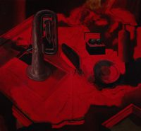 Sławomir Karpowicz: Still life in shades of red with a trumpet and Chinese spheres