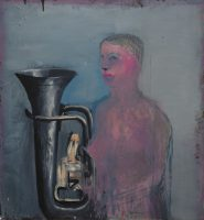 Sławomir Karpowicz: Two-sided self-portrait, back face (Phantom with a trumpet)